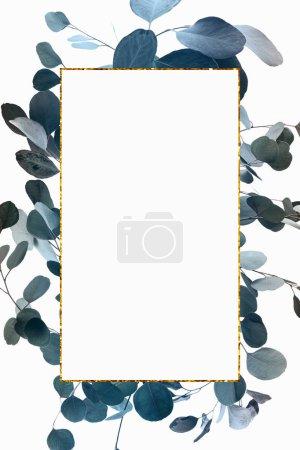 Photo pour Conception florale avec l'eucalyptus vert et le cadre doré - image libre de droit