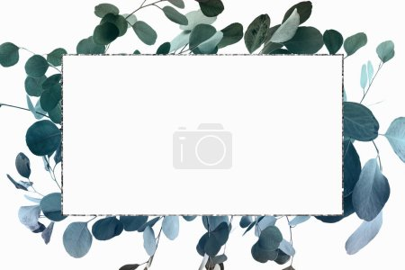 Photo for Floral design with green eucalyptus branches and silver frame - Royalty Free Image
