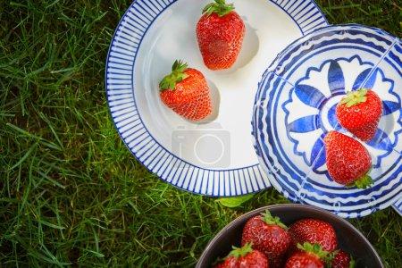 Foto de Vista superior de fresas frescas en tazón y platos en hierba verde - Imagen libre de derechos