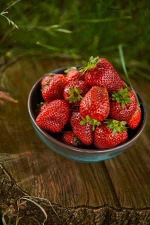 Photo for Fresh delicious strawberries in bowl on stump - Royalty Free Image