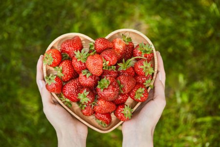 Photo for Cropped view of woman holding heart shaped plate with organic strawberries - Royalty Free Image