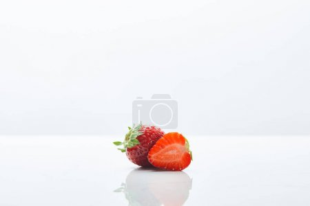 Photo for Delicious red sweet strawberries on white background - Royalty Free Image