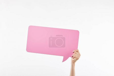 Photo for Cropped view of woman with pink speech bubble in hand isolated on white - Royalty Free Image