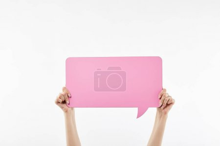 Photo for Cropped view of woman with pink speech bubble in hands isolated on white - Royalty Free Image