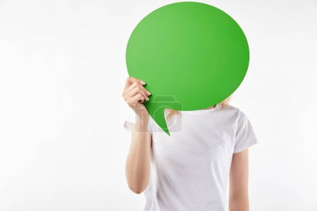 Photo pour Cropped view of woman with green thought bubble in hands isolated on white - image libre de droit