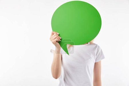 Photo for Cropped view of woman with green thought bubble in hands isolated on white - Royalty Free Image