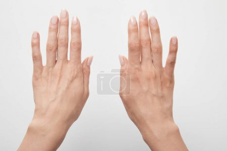 Photo for Cropped view of woman hands isolated on white - Royalty Free Image