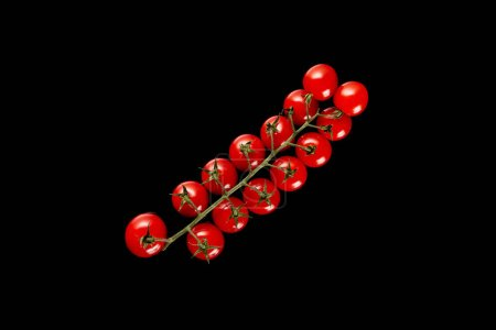 Photo for Top view of fresh organic cherry tomatoes isolated on black - Royalty Free Image