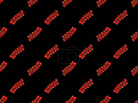 red organic whole cherry tomatoes isolated on black, seamless background pattern
