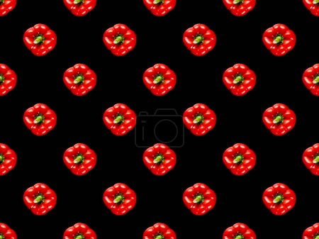 Photo for Red organic whole bell peppers isolated on black, seamless background pattern - Royalty Free Image