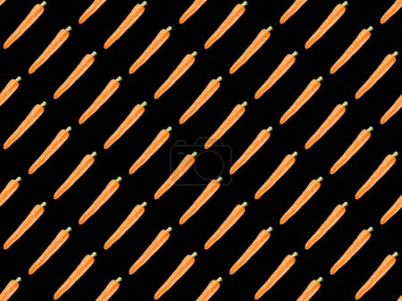 Photo for Organic carrots isolated on black, seamless background pattern - Royalty Free Image