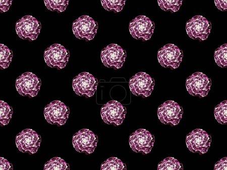 Foto de Repollo rojo orgánico púrpura aislado en negro, patrón de fondo sin costuras - Imagen libre de derechos