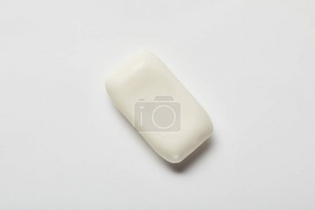 Photo for Top view of white soap on grey background with copy space - Royalty Free Image