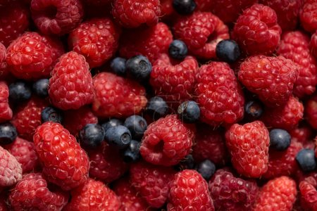 Photo for Close up view of fresh delicious ripe mixed raspberries and blueberries - Royalty Free Image