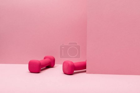 Photo for Pink bright dumbbells levitating in air on pink background - Royalty Free Image