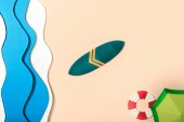 "Постер, картина, фотообои ""top view of paper beach with summer umbrella on sand near ocean, lifebuoy and surfboard"""
