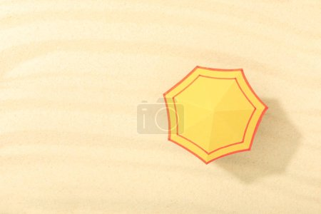 Photo for Top view of paper beach with yellow umbrella on textured sand - Royalty Free Image