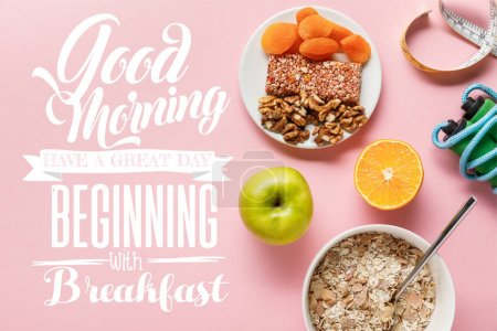 Photo for Top view of fresh diet food, measuring tape, skipping rope on pink background with good morning, have a great day beginning with breakfast lettering - Royalty Free Image