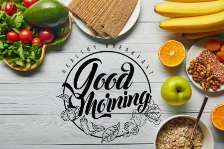 Photo for Top view of fresh fruits, vegetables and cereal on wooden white background with healthy breakfast, good morning illustration - Royalty Free Image