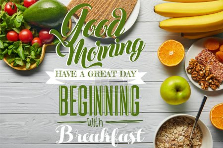 Photo for Top view of fresh fruits, vegetables and cereal on wooden white background with good morning, have a great day beginning with breakfast lettering - Royalty Free Image