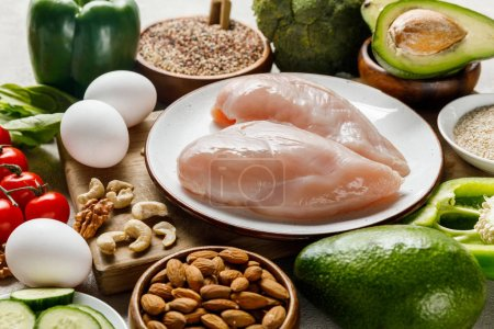 raw chicken breasts on white plate near nuts, eggs and green vegetables, ketogenic diet menu