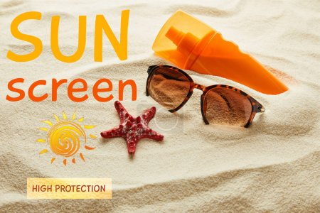 Photo for Brown stylish sunglasses and sunscreen in orange bottle on sand with starfish and sunscreen, high protection lettering - Royalty Free Image