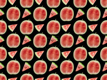 Photo for Background pattern with delicious red ripe watermelon slices and halves isolated on black - Royalty Free Image