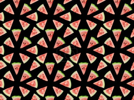 Photo for Background pattern with delicious red watermelon slices isolated on black - Royalty Free Image