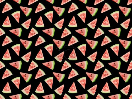 Photo pour Motif de fond avec de délicieuses tranches de pastèque mûre rouge isolé sur noir - image libre de droit