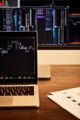 "Постер, картина, фотообои ""screens of laptop and computer with charts and graphs """