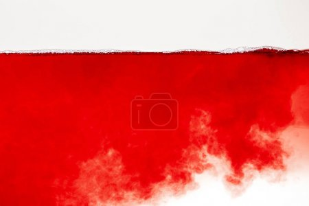 abstract red cloud in liquid with bubbles on surface isolated on white