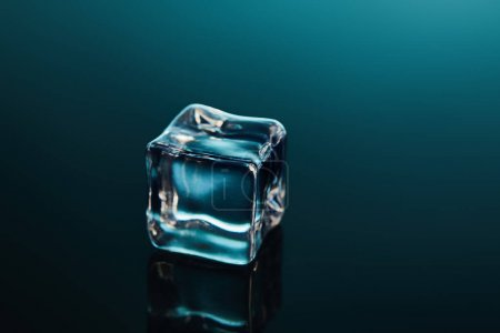 Photo for Pure transparent ice cube on emerald background - Royalty Free Image