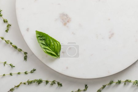 Top view of round marble surface with basil leaf near thyme twigs on white background