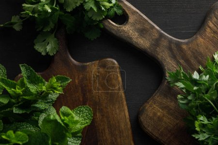 Photo for Top view of brown wooden cutting boards with parsley, cilantro and peppermint bundles on dark surface - Royalty Free Image