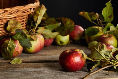 Photo for Wooden surface with apples and leaves near wicker basket isolated on black - Royalty Free Image