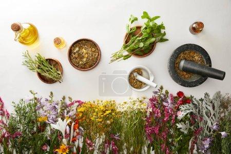 Photo pour Vue de dessus des mortiers et des pilons avec des mélanges à base de plantes près des fleurs et des bouteilles sur fond blanc - image libre de droit