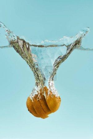 Photo pour Kiwi coupé tombant profondément dans l'eau avec l'éclaboussure sur le fond bleu - image libre de droit