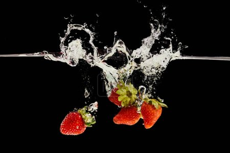 Photo for Ripe strawberries falling in water with splash isolated on black - Royalty Free Image