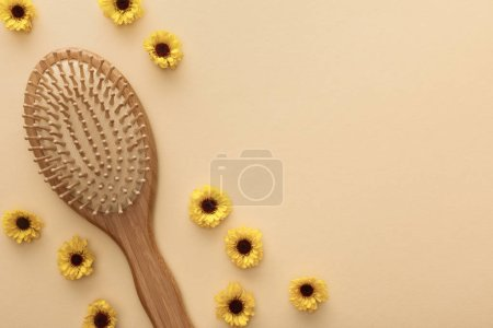 Photo for Top view of hairbrush on beige background with flowers and copy space - Royalty Free Image
