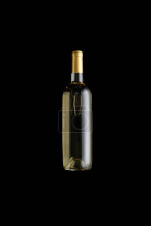 Photo for Top view of bottle with white wine isolated on black - Royalty Free Image
