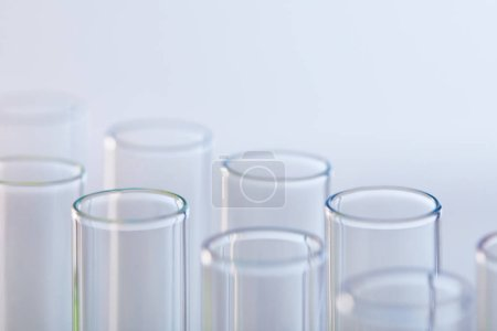 Photo for Close up view of glass test tubes isolated on white - Royalty Free Image