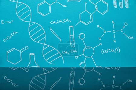 blue background with molecular structure signs