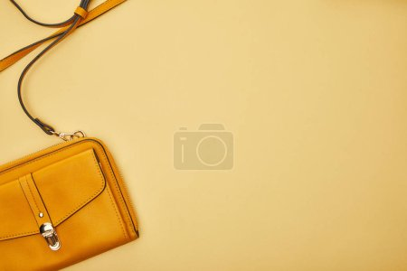 Photo for Top view of bag isolated on yellow with copy space - Royalty Free Image