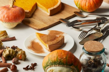 Photo for Tasty pumpkin pie near whole pumpkins, cutlery and spices on white surface - Royalty Free Image
