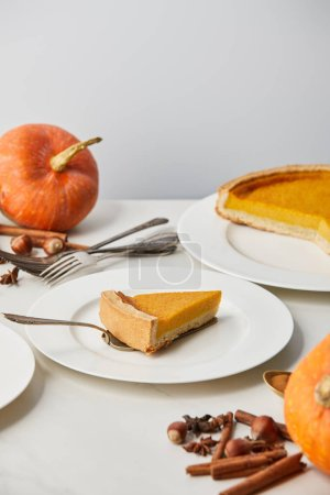 Photo for White plates with tasty pumpkin pie near cutlery and spices isolated on grey - Royalty Free Image
