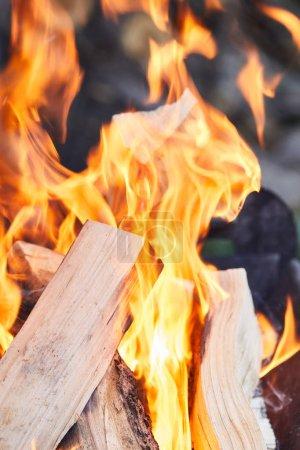 Foto de Enfoque selectivo de la leña con llamas de fuego a la parrilla - Imagen libre de derechos
