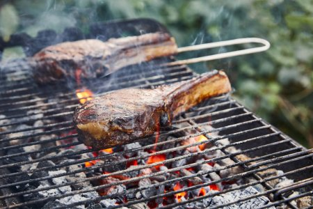 Photo for Selective focus of meat grilling on barbecue grid and coal pieces outside - Royalty Free Image