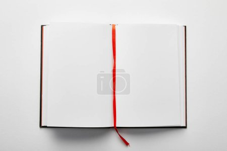 Photo for Top view of opened notebook with copy space on table - Royalty Free Image