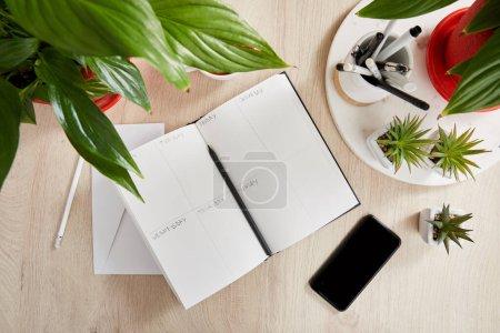 Foto de Vista superior de las plantas verdes, cuaderno en blanco con lápices y plumas cerca del teléfono inteligente en la superficie de madera. - Imagen libre de derechos