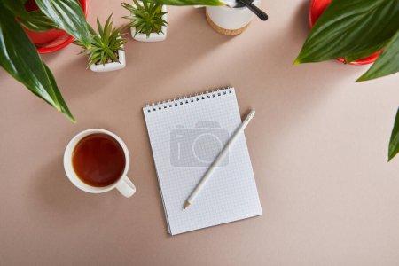 Photo pour Vue de dessus des plantes vertes, tasse de thé, carnet vierge avec crayon sur la surface beige - image libre de droit